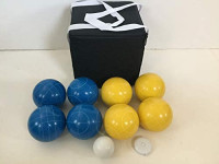 New Listing - (19 of 28) Unique Bocce Sets - 107mm with Blue and Yellow Balls, Black Bag : Sports & Outdoors