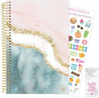 """bloom daily planners 2021 Calendar Year Day Planner (January 2021 - December 2021) - 6"""" x 8.25"""" - Weekly/Monthly Agenda Organizer Book with Stickers & Bookmark - Daydream Believer : Office Products"""