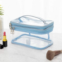 M-choice Portable 2 ply Clear Makeup Bag Waterproof Transparent Travel Storage Pouch Cosmetic Toiletry Bag With Handle for Women (Blue)