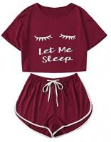Milumia Women Let Me Sleep Short Sleeves Round Neck PJ Pajamas Sets at Women's Clothing store