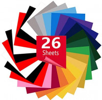 Heat Transfer Vinyl for T-Shirts 12in x10in 26 Sheets-Iron On Vinyl HTV Bundle