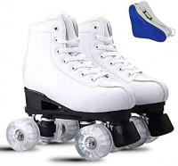 Women's Roller Skates Pu Leather Four-Wheel Roller Skates, High-Top Shiny Roller Skates with Shoe Bag for Adult, Boys, Girls : Sports & Outdoors