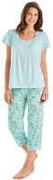 Carol Wright Gifts Pajama Set for Women with Capris - Short Sleeve Sleepwear Pjs Sets Available in Small to 4XL at Women's Clothing store