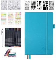 Bullet Dotted Journal Kit, Feela A5 Dotted Bullet Grid Journal Set with 224 Pages Teal Notebook, Fineliner Colored Pens, Stencils, Stickers, Washi Tape, Black Pen for Diary Schedule Planner Draw : Office Products