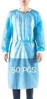Disposable Gown, Protective Suit, Isolation gowns, Disposable isolation clothing。Disposable Protective Coverall Isolation Gown Clothing Anti-Spitting Anti-Stain Nursing Gown (Bule/50pcs)