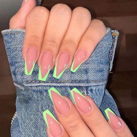 Clairy Coffin Glossy Press on Nails Green Long Fake Nails Full Cover Acrylic French Nails for Women and Girls 24PCS : Beauty