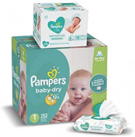 Diapers Newborn / Size 1 (8-14 lb), 252 Count - Pampers Baby Dry Disposable Baby Diapers, ONE MONTH SUPPLY with Baby Wipes Sensitive 6X Pop-Top Packs, 336 Count (Packaging May Vary): Baby