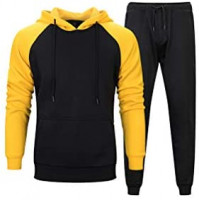 PASOK Men's Casual Tracksuit Sweat Suit Running Jogging Athletic Sports Shirts and Pants Set: Clothing