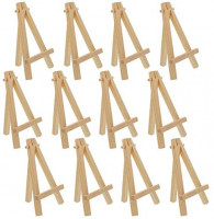 "U.S. Art Supply 5"" Mini Natural Wood Display Easel (Pack of 12), A-Frame Artist Painting Party Tripod Easel - Tabletop Holder Stand for Small Canvases, Kids Crafts, Business Cards, Signs, Photos, Gift"