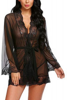 Avidlove Women Lace Kimono Robe Babydoll Sexy Lingerie Mesh Chemise Nightgown Cover Up: Clothing