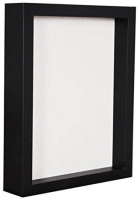 Display Box/Shadow Box Frame Wood deep Depth with Linen Back Easy Hanging, Perfect for Display Photos, Medals, Awards, Tickets (Black, 8x10)