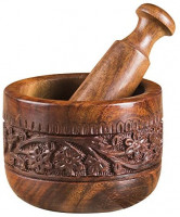 "Rusticity Indian Rosewood Antique Mortar & Pestle Mixing Grinder Set for Kitchen/Vintage Rustic Handcarved Spice & Herbs Crusher Bowl/Handmade Decorative Sheesham Manual Kharal Smasher, 4.5x4.5x4"": Kitchen & Dining"