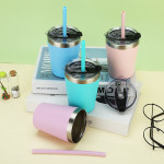 Stackable Stainless Steel Cups for Toddlers & Kids (EASY to Clean) - Set of 2 Powder Coated 8 oz Vacuum Insulated Tumblers, 2 Non BPA Lids and 2 Food Grade Reusable Silicone Straws (Blue + Green): Kitchen & Dining