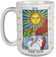 Tarot Gift - The Sun Tarot Card Coffee or Tea Mug. Large Ceramic 15 OZ: Coffee Cups & Mugs
