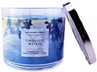 Bath and Body Works White Barn Turquoise Waters 3 Wick Candle 14.5 Ounce Blue Beach Scene Label: Home & Kitchen