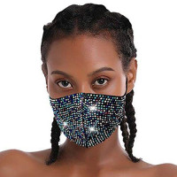 Harosy Sparkly Crystal Rhinestone Mesh Mask Masquerade Reusable Face Mask Halloween Ball Party Nightclub Mouth Cover Mardi Gras Jewelry for Women and Girls (Colorful) : Beauty