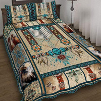 GEEMBI Quilt Bedding Set-Native American Quilt Bed Set PN1107QS, Queen Size Coverlet for All Season-Soft Microfiber Bedspread+Pillows-Quilts Gifts (King,Queen,Twin): Home & Kitchen