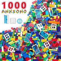 Anksono Building Bricks 1000 Pieces Set, 1000 Pcs Kids Classic Building Blocks in 11 Colors and 6Pcs Windows and Doors Compatible with All Major Brands for Ages 3 4 5 6 7 8 9 10 Year Old Boys & Girls: Toys & Games