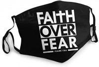 Faith Over Fear Bible Scripture Verse Christian Womans Men's Mask Dust Masks Outdoor Adjustable Earrings Mask Reusable Black at Men's Clothing store