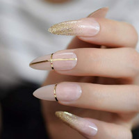 CoolNail Beige Nude Glitter French Stiletto Press on False Nails Extra Long Natural Sharp Poited Gold Cross Line UV Gel Fake Fingers Nail: Beauty