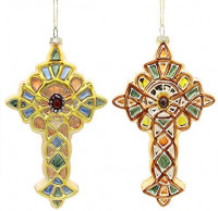 Mingfuxin 2020 Glass Christmas Ornaments, Christmas Tree Jeweled Cross Ornaments, Jesus Xmas Ornament Pack of 2: Home & Kitchen