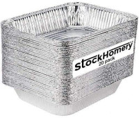 9 X 13 Half Size Disposable Aluminium Foil Baking Pans by StockHomery – Heavy-Duty Foil Pans – Be it Lunch Box or Food Leftover Storage or Frying pan (20 count) (with out lids): Kitchen & Dining