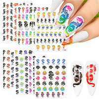 2020 Hot Dragon Snake Nail Art Decals 6 Sheet Self-adhesive Stickers Design Nail Foil 3D Luxury Chinese Style Sticker for Acrylic Nails DIY Colorful Chinese Dragon Nail Decals Fashion Nail Decorations: Beauty