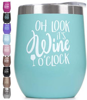 Prokitline Premium Stainless Steel Wine Tumbler with Lid 12 oz Double Wall Vacuum Insulated Stemless Travel Glass Funny Phrase Engraved Mug | Custom Personalized Men Women Cup with Sayings Tiffany: Wine Glasses