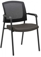CLATINA Office Reception Guest Chair Mesh Back Stacking with Ergonomic Lumbar Support and Thickened Seat Cushion for Waiting Conference Room Black: Furniture & Decor