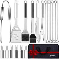 Anpro Grilling Accessories BBQ Tools Set, 21 PCS Stainless Steel Grill Kit with Case, Great Barbecue Utensil Tool for Men, Women, Dad : Garden & Outdoor