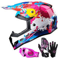 GLX Unisex-Child GX623 DOT Kids Youth ATV Off-Road Dirt Bike Motocross Helmet Gear Combo Gloves Goggles for Boys & Girls (Graffiti, Large): Automotive