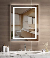 JORYOO 20x28 Inch LED Lighted Bathroom Mirror with Anti-Fog, Frameless Led Backlit Mirror, Dimmable Touch Button, IP54 Waterproof, 6000k White Light, CRI 95+, Vertical & Horizontal: Kitchen & Dining