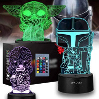 3D Illusion Yoda Toy Night Light - 3 Pattern and 16 Color Change Decor Lamp Star Wars Toys and Gifts for Boys Girls and Any Star Wars Fans: Home & Kitchen