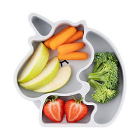 Table-Tot 3-Compartment Plate for Kids, Baby-Safe Silicone, Suction Plates for Toddlers by Juliaire (Cool Gray Unicorn)… : Baby