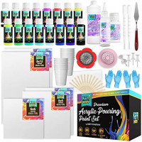 KEFF Creations Ultimate Acrylic Pouring Paint Kit- Includes Acrylic Paint, pouring medium, silicone oil, paint supplies, strainers for flow Acrylic painting, Free flowing painting: Home Improvement