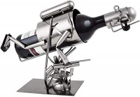 BRUBAKER Wine Bottle Holder Spearfishing, Scuba Diver with Speargun - Metal Sculpture - Wine Rack Decor - Tabletop - with Greeting Card: Home & Kitchen