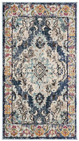 "Safavieh Monaco Collection MNC243N Bohemian Chic Medallion Distressed Area Rug, 2' 2"" x 4', Navy/Light Blue: Furniture & Decor"