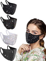 Women Fashionable Crystal Face Coverings, Reuseable Bling Masquerade Mask Breathable Comfortable Outdoor Party (color11): Clothing