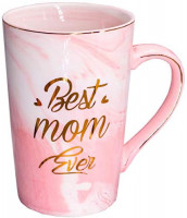 Mugpie Mom Gifts Coffee Mug- Funny Mothers Day Gifts Birthday Christmas Presents for Mom from Son Daughter Kids Husband - Best Mom Ever Mug - Novelty 12.5oz Pink Tall Marble Ceramic Coffee Cup: Kitchen & Dining