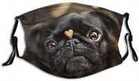 Cute Funny Black Pug Dog Adjustable Face Mask With Filter Pocket Washable Reusable Face Bandanas Balaclava With 2 Pcs Filters