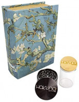 Hakuna Supply Locking Book Storage Box Bundle - 1/8 Oz. Glass Jar w/Freshness Seal Bamboo Lid + Hakuna 4 Pc. Sharp Shredder + 2 Keys (Almond Blossom): Home & Kitchen
