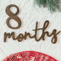 Baby Monthly Milestone Markers Wood Photo Prop Sign Brown: Handmade