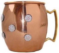 Rastogi Handicrafts Hand Made Pure Copper Moscow Mule Mug / Cup 16 Ounce Decorated with Water Proof Embellishment (1): Toys & Games