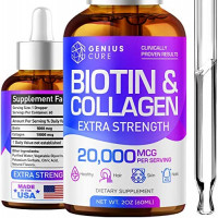 Genius Biotin & Collagen Hair Growth Drops - Potent US Made Hair Growth Product - Healthy Skin & Nails - Liquid Biotin & Collagen Supplement for Best Absorption - Perfect Hair Growth for Men & Women: Health & Personal Care