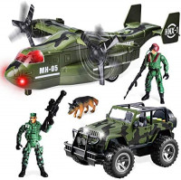 JOYIN Military Vehicle Toy Set of Friction Powered Transport Airplane and Military Truck with Light and Sound Sirens and Soldier Army Men Action Figures for Kids: Toys & Games