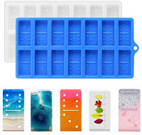 Domino M-olds for Resin Casting, Silicone Resin M-olds Domino, DIY Craft 28 Cavities for Personalized Dominoes, Double Six Epoxy Resin Casting M-olds for Domino Game M-olds-2 Pack-Transparent & Blue: Arts, Crafts & Sewing