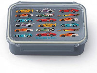 Crocodile Creek - Race Cars Bento Box with Removable Divider, Dishwasher-Safe, Microwave and Freezer Safe, for Kids 3+, Gray/red: Toys & Games
