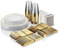 25 Guest Disposable Gold Plastic Dinnerware Set | 50 Forks, 25 Spoons, 25 Dessert Spoons, 25 Knives, 25 Dinner Plates, 25 Dessert Plates & 25 Gold Rimmed Cups | Bonus 50 Guest Towels: Kitchen & Dining