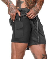Akk Men's 2 in 1 Running Shorts Workout Training Yoga Gym Sport Short Pants with Zipper Phone Pockets: Clothing