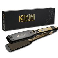 KIPOZI Professional Titanium Flat Iron Hair Straightener with Digital LCD Display, Dual Voltage, Instant Heating, 1.75 Inch Wide Black. : Beauty